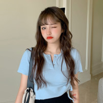 T-shirt Blue top piece, black skirt piece Average size Summer 2021 Short sleeve Crew neck Self cultivation have cash less than that is registered in the accounts routine commute other 30% and below 18-24 years old Korean version
