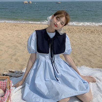 Dress Summer 2021 White, blue, yellow Average size Middle-skirt Two piece set Short sleeve Sweet Crew neck High waist Solid color Socket A-line skirt puff sleeve Others 18-24 years old Type A 30% and below other other solar system
