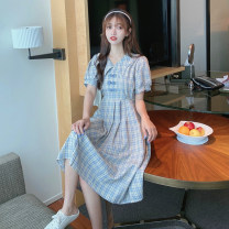 Dress Summer 2021 Red, blue Average size Mid length dress singleton  Short sleeve commute Doll Collar High waist lattice Socket other puff sleeve Others 18-24 years old Type A Retro Bow, fold 30% and below other other