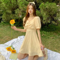 Dress Summer 2021 Goose short, goose long S, M Short skirt singleton  Short sleeve commute V-neck High waist Solid color Socket A-line skirt puff sleeve Others 18-24 years old Type A Korean version 30% and below other other