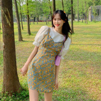 Dress Summer 2021 Bubble sleeve top piece, floral suspender skirt piece S. M, average size Short skirt Two piece set Sleeveless commute V-neck middle-waisted Broken flowers Socket A-line skirt other 18-24 years old Type A Korean version 30% and below other other