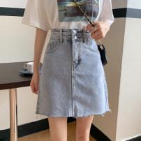 skirt Spring 2021 S,M,L,XL wathet Short skirt Versatile High waist A-line skirt Solid color Type A 18-24 years old 81% (inclusive) - 90% (inclusive) Denim cotton
