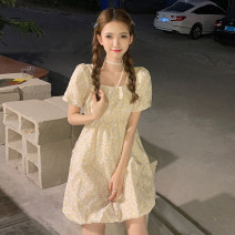 Dress Summer 2021 Blue for bags, yellow for bags S, M Short skirt singleton  Short sleeve commute square neck High waist Broken flowers Socket A-line skirt puff sleeve Others 18-24 years old Type A Korean version 30% and below other other