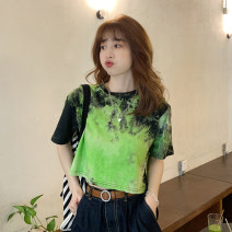 T-shirt Green, blue, light gray Average size Summer 2021 Short sleeve Crew neck Straight cylinder have cash less than that is registered in the accounts routine commute other 30% and below 18-24 years old Korean version youth printing