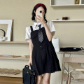 Dress Summer 2021 Shirt + tie, skirt piece S, M Short skirt singleton  Sleeveless Sweet High waist Solid color Socket A-line skirt routine straps 18-24 years old Type A Button k170 30% and below other solar system