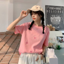 T-shirt Pink, sky blue, mint green Average size Summer 2021 Short sleeve Crew neck easy Regular routine commute other 30% and below 18-24 years old Korean version Embroidery