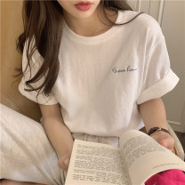T-shirt Light green, white, purple, light yellow Average size Summer 2021 Short sleeve Crew neck easy Regular routine commute other 30% and below 18-24 years old Korean version youth Solid color printing