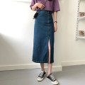 skirt Summer 2021 S,M,L,XL Dark blue, light blue longuette commute High waist Denim skirt Solid color Type A 18-24 years old 30% and below other other Button Retro