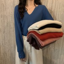 Wool knitwear Spring 2021 Average size White, purple, red, blue, black, pink, oatmeal Long sleeves singleton  Socket acrylic fibres More than 95% Regular routine commute easy V-neck routine Solid color Socket Korean version 18-24 years old
