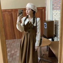 Dress Spring 2021 Apricot shirt piece, black dress piece, coffee dress piece Average size Mid length dress singleton  Sleeveless commute V-neck Solid color A-line skirt other Others 18-24 years old Type A Korean version