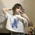 T-shirt White Blue Bear short, black purple bear short Average size Summer 2021 Short sleeve Crew neck easy have cash less than that is registered in the accounts routine commute other 30% and below 18-24 years old Korean version youth Cartoon animation printing