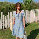 Dress Summer 2021 Blue, yellow Average size Middle-skirt singleton  Short sleeve commute square neck middle-waisted Broken flowers Socket A-line skirt routine Others 18-24 years old Type A Korean version Bow tie 30% and below other other