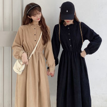 Dress Spring 2021 Black, khaki, red, blue Average size Mid length dress singleton  Long sleeves commute other Elastic waist Solid color A-line skirt other 18-24 years old Type A Korean version Pleats, buttons More than 95% polyester fiber