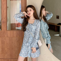 Dress Spring 2021 Blue, black S,M,L Short skirt singleton  Long sleeves commute V-neck High waist Broken flowers Socket other routine Others 18-24 years old Type A Korean version fold 30% and below other other