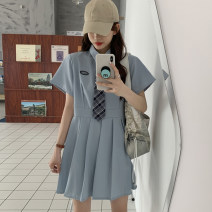 Dress Summer 2021 White with tie, blue with tie, black with tie Average size Short skirt other Short sleeve Sweet Polo collar Loose waist Solid color Socket Pleated skirt routine Others 18-24 years old Type A 30% and below other other college