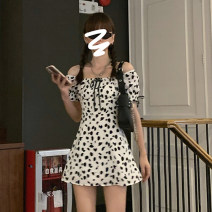 Dress Summer 2021 Black and white Average size Short skirt singleton  Short sleeve commute One word collar High waist Decor Socket A-line skirt puff sleeve Others 18-24 years old Type A Korean version bow 303# 30% and below other other