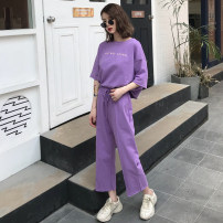 Casual suit Summer of 2018 Purple black apricot Average size 18-25 years old Five hundred and ninety-one 96% and above cotton