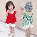 suit Other / other Emerald green, red Size 90 (height 78-87cm, age 1-2), size 100 (height 88-97cm, age 2-3), Size 110 (height 98-107cm, age 3-4), Size 120 (height 108-117cm, age 4-5), Size 130 (height 118-130cm, age 5-6) female summer leisure time Short sleeve + pants 2 pieces routine Socket nothing