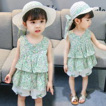 suit Other / other green Size 80 (height 70-78cm, age 1), Size 90 (height 78-87cm, age 1-2), size 100 (height 88-97cm, age 2-3), Size 110 (height 98-107cm, age 3-4), Size 120 (height 108-117cm, age 4-5) female summer leisure time Short sleeve + pants 2 pieces routine Socket nothing Solid color cotton