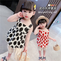 suit Other / other Black, red Size 80 (height 70-78cm, age 1), Size 90 (height 78-87cm, age 1-2), size 100 (height 88-97cm, age 2-3), Size 110 (height 98-107cm, age 3-4), Size 120 (height 108-117cm, age 4-5), Size 130 (height 118-130cm, age 5-6) female summer leisure time Short sleeve + pants routine