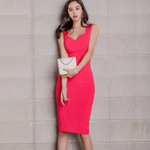 Dress 7976 Summer 2020 Other / other Miniskirt Sleeveless singleton  commute V-neck middle-waisted Solid color Condom 81% (inclusive) - 90% (inclusive) A-line skirt nylon Korean version Other brocade S,M,L,XL