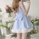 Dress Spring 2021 XS,S,M,L Short skirt singleton  Sleeveless Sweet High waist lattice Socket A-line skirt camisole 18-24 years old Type A