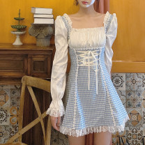 Dress Autumn 2020 Graph color S,M,L Middle-skirt singleton  Long sleeves square neck High waist lattice Socket A-line skirt other Others Type A Bandage 51% (inclusive) - 70% (inclusive) other other
