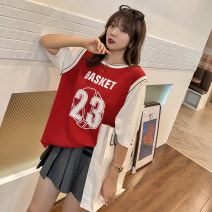T-shirt 7639 black, 7639 red XL,XXL,XXXL Summer 2021 Short sleeve Crew neck easy Regular routine commute cotton 30% and below 25-29 years old Korean version youth Color matching It's a grain Splicing