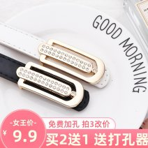 Belt / belt / chain Pu (artificial leather) female belt Versatile Single loop Youth, youth, middle age Smooth button other soft surface 1.9cm alloy Heavy line decoration Hanpudun