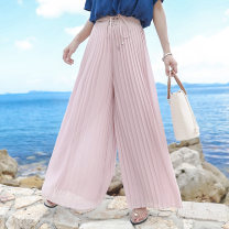 Casual pants Pink, black S,M,L,XL Summer 2021 trousers Wide leg pants High waist Versatile routine 25-29 years old 96% and above KZ-18207 Princess 72 changes polyester fiber fold polyester fiber