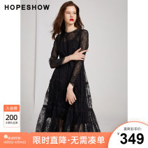 Dress Winter of 2019 Black 050 XS S M L XL XXL Middle-skirt singleton  Long sleeves commute Crew neck Solid color Socket Princess Dress routine Others 25-29 years old Type X Hopeshow  lady Lace More than 95% nylon Polyamide fiber (nylon) 100% Same model in shopping mall (sold online and offline)