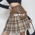 skirt Spring 2021 S,M,L brown Short skirt street High waist Pleated skirt lattice Type A 18-24 years old LXMKD00606 91% (inclusive) - 95% (inclusive) other polyester fiber Europe and America