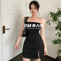 Dress Summer 2021 black S,M,L Short skirt singleton  Sleeveless street One word collar High waist Solid color Socket One pace skirt camisole 18-24 years old Type H 51% (inclusive) - 70% (inclusive) polyester fiber Europe and America