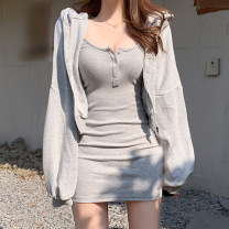 Dress Autumn 2020 Grey coat, grey sling, black coat, black sling S,M,L Short skirt Two piece set Long sleeves street Hood High waist Solid color zipper other routine Others 18-24 years old Type H C5520W0H+D5521W0H 31% (inclusive) - 50% (inclusive) knitting cotton Europe and America