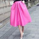 skirt Spring 2020 Mid length dress street High waist Fluffy skirt Solid color polyester fiber Europe and America