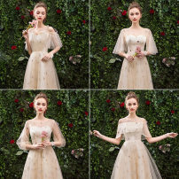Dress / evening wear Wedding, adulthood, party, company annual meeting, performance, routine, appointment Champaign a sling, Champaign B V-neck, Champaign C off shoulder, Champaign D crew neck, Champaign a mid length, Champaign B mid length, Champaign C mid length, Champaign D mid length longuette