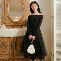 Dress Spring 2020 Black, red S,M,L Middle-skirt singleton  Long sleeves commute One word collar High waist Solid color zipper Big swing routine Others 18-24 years old Type A Retro Splicing, mesh