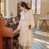 Dress Spring 2021 Light apricot S,M,L Mid length dress singleton  Long sleeves commute Lotus leaf collar High waist Socket A-line skirt other Type A Retro Lace Two hundred and seven 31% (inclusive) - 50% (inclusive)
