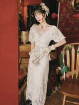 Dress Summer 2020 white S,M,L Mid length dress singleton  Short sleeve commute V-neck middle-waisted Solid color zipper A-line skirt Others Type A Retro Lace 9882#