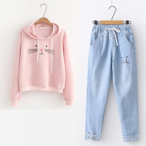Sweater / sweater Spring 2021 Long sleeves have cash less than that is registered in the accounts Socket singleton  routine Hood Straight cylinder Sweet routine Cartoon animation Under 17 51% (inclusive) - 70% (inclusive) cotton printing college