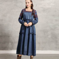 Dress Autumn of 2019 Tannin blue M,L,XL longuette singleton  Long sleeves commute square neck High waist Solid color Socket Big swing puff sleeve Others 25-29 years old Type H ethnic style Embroidery 91% (inclusive) - 95% (inclusive) Denim cotton
