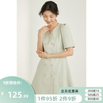 Dress Summer 2021 Medium length skirt Short sleeve singleton  commute Solid color V-neck double-breasted 18-24 years old routine More than 95% polyester fiber Other B12Q14073 Simplicity Bool / Bao Polyester 100% Pure e-commerce (online sales only) S M L