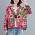 Women's large Spring 2021, autumn 2021 Rose red flower, rose red flower and velvet style M [recommended 100-130 kg], l [recommended 130-160 Jin], XL [160-190 Jin], 2XL [190-220 Jin recommended] trousers singleton  commute easy moderate Cardigan Long sleeves Plants and flowers literature Hood routine