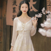Dress Summer 2021 Cape + suspender skirt S,M,L longuette Two piece set Long sleeves commute V-neck High waist Solid color zipper other routine camisole Type A Retro Lace, gauze, embroidery