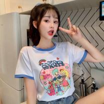 T-shirt white M,L,XL Summer 2021 Short sleeve Crew neck Regular routine commute cotton 31% (inclusive) - 50% (inclusive) 18-24 years old Korean version