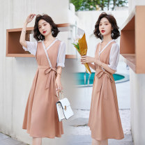 Dress Summer 2020 Khaki, pink, black M,L,XL Mid length dress singleton  Short sleeve Sweet V-neck High waist Solid color zipper Princess Dress Pile sleeve Breast wrapping Type X Other / other other