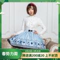 skirt Spring of 2019 XS,S,M,L,XL Blue poker Short skirt Sweet Natural waist Pleated skirt other 18-24 years old BQ147 More than 95% Other / other polyester fiber Bows, folds, prints, lace Lolita