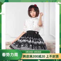 skirt Autumn of 2019 XS,S,M,L,XL,2XL black Short skirt Retro Natural waist Princess Dress other Type A 25-29 years old BQ092 More than 95% knitting Other / other polyester fiber Bows, prints, lace