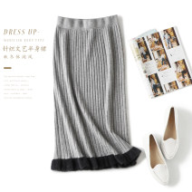 skirt Autumn 2020 Average size Gray, black Mid length dress grace High waist skirt Solid color 51% (inclusive) - 70% (inclusive) knitting wool Splicing