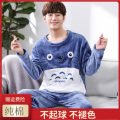 Pajamas / housewear set male Other / other cotton Long sleeves Cartoon pajamas winter routine Crew neck Cartoon animation trousers Socket juvenile 2 pieces rubber string More than 95% Coral velvet fabric Embroidery 400g